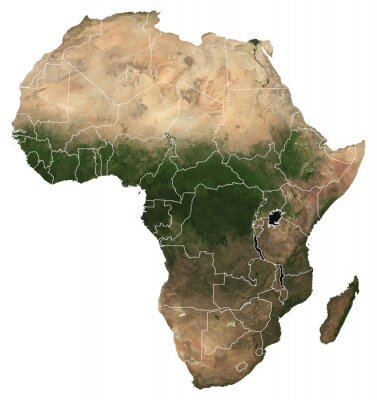 Adesivo Large (97 MP) isolated satellite image of Africa with country borders. African continent from space. Detailed map of Africa in orthographic projection. Elements of this image furnished by NASA.