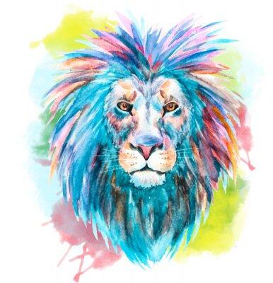 Adesivo Leão do vetor da aguarela