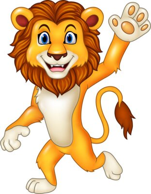 Adesivo Leão engraçado dos desenhos animados que acena
