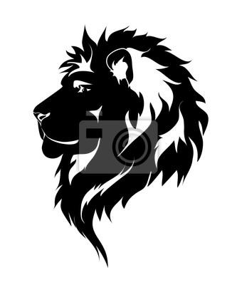 leão gráfico desenho preto e branco para tatuagem laptop adesivos