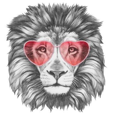Adesivo Leão no amor! Retrato do leão com os óculos de sol dados forma coração. Ilustração desenhada mão.