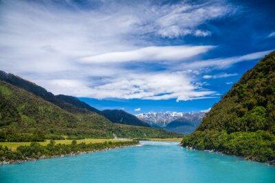 Adesivo Leitoso, azul, glacial, água, whataroa, rio, nova, zelândia