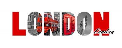 Adesivo Letras de Londres, isoladas no fundo branco, viagens e turismo no conceito do Reino Unido