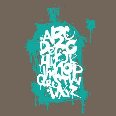Adesivo Letras do alfabeto font grafites coloridos. Projeto dos grafittis do hip-hop
