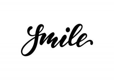 Adesivo lettering poster smile. Inspirational and motivational quotes, isolated on the white background. design for invitation, print, photo overlays, typography holiday greeting card, t-shirt, flyer design