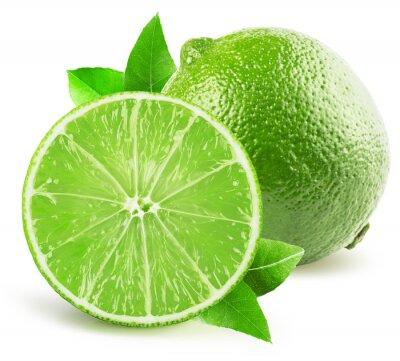 Adesivo Limão com metade da cal isolada no fundo branco
