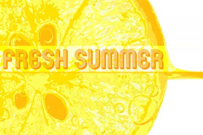 Adesivo Limão fresco com texto verão fresco