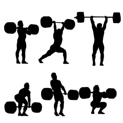 Adesivo Limpe e empurrão Silhueta do weightlifter