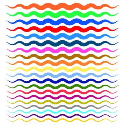Adesivo Linhas onduladas onduladas coloridas de grossas a finas