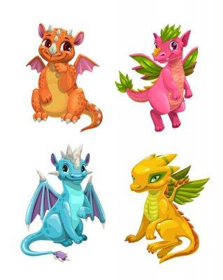 Adesivo Little cute cartoon dragons set. Colotful fantasy monsters.