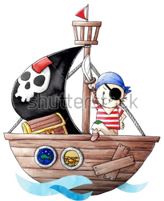 Adesivo Little pirate boy with his ship