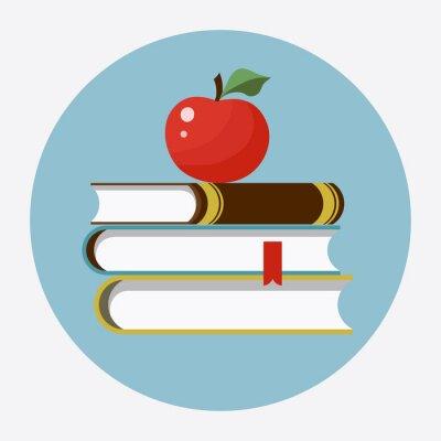 Adesivo Livros com maçã ícone plano