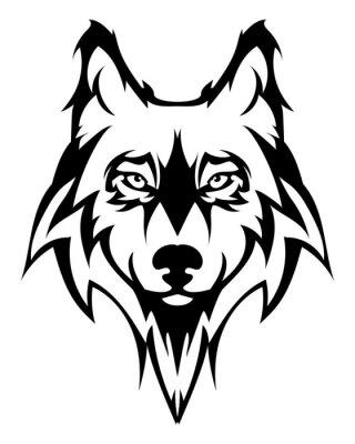 Adesivo Lobo bonito tattoo.Vector cabeça de lobo como um elemento de design no fundo isolado