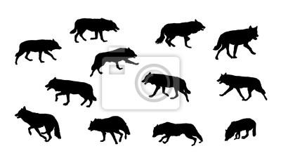 lobo correndo coleção do vetor da silhueta laptop adesivos