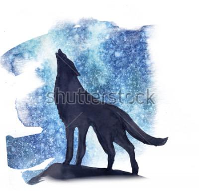 Adesivo Lobo da silhueta no fundo da aguarela as luzes do norte. Aurora boreal