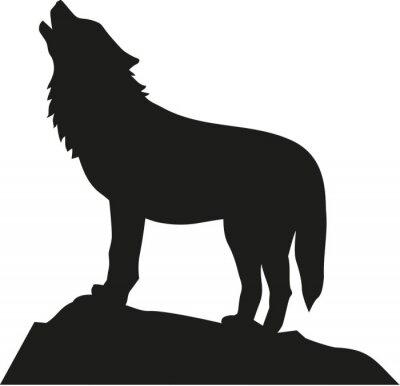 Adesivo Lobo em pé e uivando
