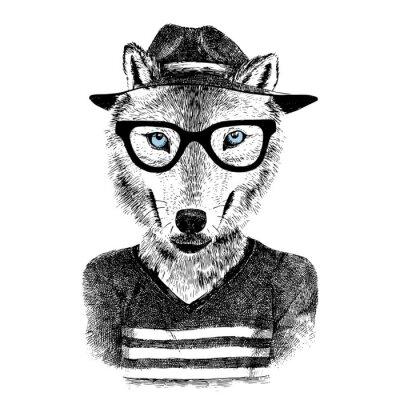 Adesivo Lobo vestido