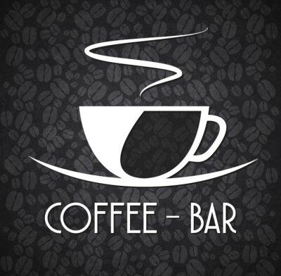 Adesivo Logo Minimalist Coffee Bar Black and White
