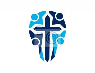 7d04c4ecad807 Adesivo logotipo cruz equipe religioso, as pessoas símbolo ícone abstrato
