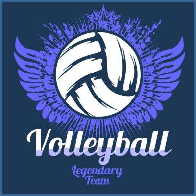 Adesivo Logotipo do campeonato de voleibol com bola - ilustração do vetor.