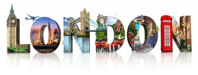 Adesivo London city landmarks. Word illustration of most famous London monuments and places