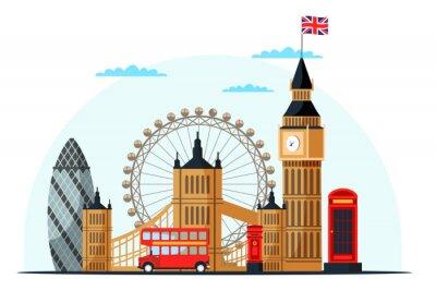 Adesivo London cityscape flat vector color illustration