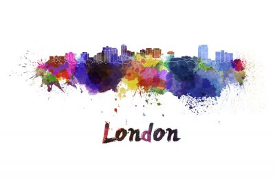 Adesivo Londres skyline na aguarela