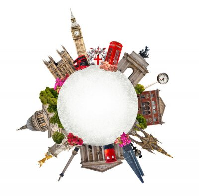 Adesivo Londres. Turismo e colagem de negócios, edifícios famosos de Londres contra de fundo branco