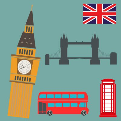 Adesivo Londres, vetorial, gráficos