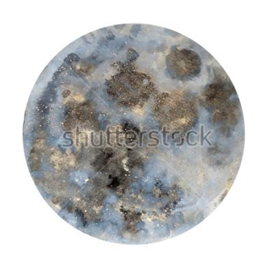 Adesivo Lua. Ilustração de aquarela