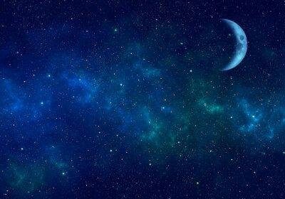 Adesivo Lua, nebulosa e estrelas no céu noturno. Fundo do espaço.