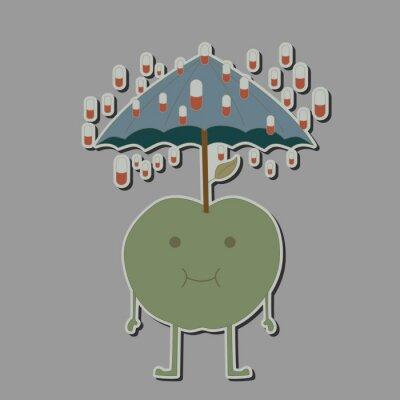 Adesivo Maçã com guarda-chuva e comprimidos de chuva