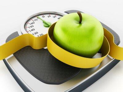 Adesivo Maçã verde e fita métrica na escala do peso