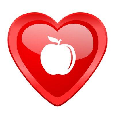 Adesivo Maçã vermelho coração valentine lustroso web ícone