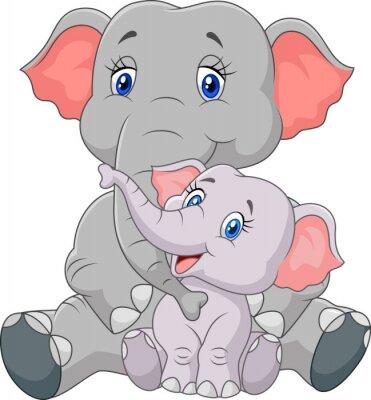 Adesivo Mãe dos desenhos animados e bebê elefante sentado isolado no fundo branco