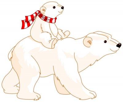 Adesivo Mamã e bebê do urso polar