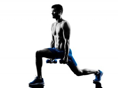 Adesivo man exercising fitness lunges weights exercises silhouette