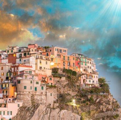 Adesivo Manarola, Cinque Terre. Pôr do sol sobre cinco terras, Itália