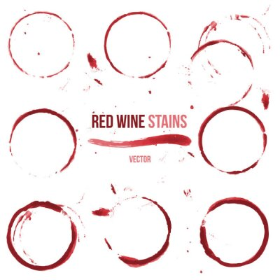 Adesivo Manchas de vinho vermelhas sobre fundo branco