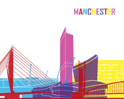 Adesivo Manchester skyline pop
