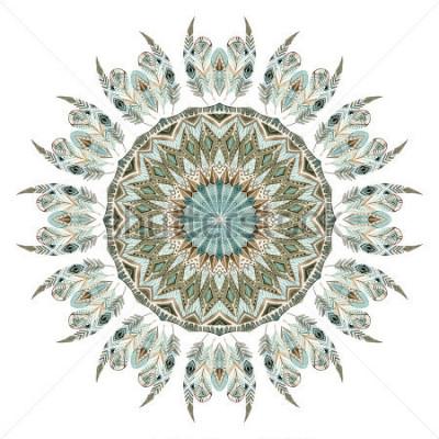 Adesivo Mandala abstrata de penas étnica aquarela. Padrão de Fundo com penas ornamentadas com elementos geométricos, isolado no fundo branco. Ilustração de pintados à mão para boho, design tribal