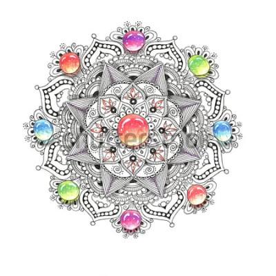 Adesivo Mandala colorida da aguarela com pedras da joia. Belo vintage padrão redondo. Mão desenhada abstrato. Convite, impressão de t-shirt, cartão de casamento. Decoração para o seu design em estilo oriental