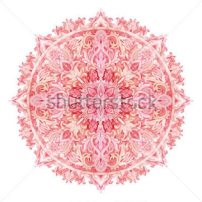 Adesivo Mandala em aquarela. Padrão de mão desenhada em estilo oriental. Padrão de rendas ornamentais para design em estilos tribais e boho. Laço tradicional isolado no fundo branco.