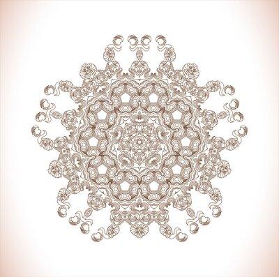 Adesivo Mandala. Teste padrão redondo. Teste padrão abstrato da elegância. Desenhado à mão