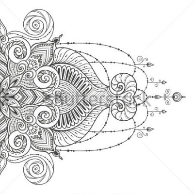 Adesivo Mandala Vector tattoo. Perfect card for any other kind of design, birthday and other holiday, kaleidoscope, medallion, yoga, india, arabic. Islam, Arabic, Indian, asian motifs.