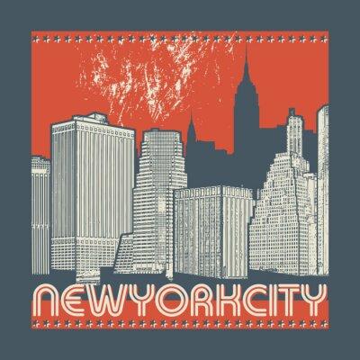 Adesivo Manhattan, cidade de Nova York, ilustração de silhueta