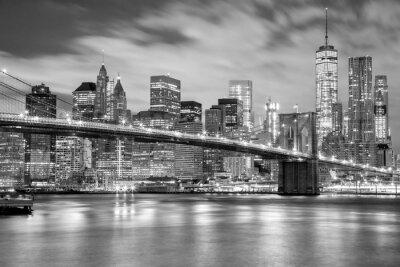 Adesivo Manhattan e ponte de Brooklyn preto e branco, New York