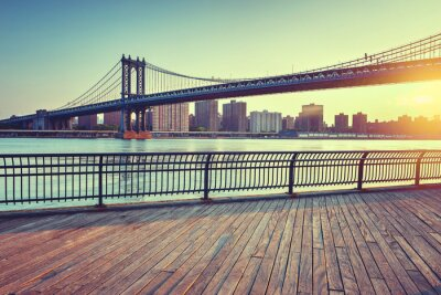 Adesivo Manhattan, ponte, leste, Rio, pôr do sol