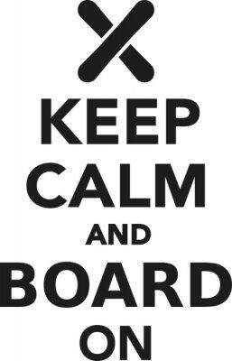 Adesivo Mantenha a calma ea placa no snowboard