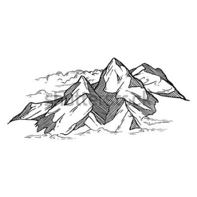 Adesivo mão desenhada de iluustration de vetor de montanhas